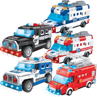 City vehicle battery operation building block police swat Armored jeep car Ambulance fire engine bricks BO toys with light sound