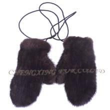 CX-A-35 настоящая норка оптом меховые вязаные женские зимние перчатки