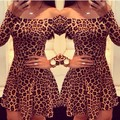 Leopard print strapless dress mujeres moda vestidos slash cuello sexy manga larga fuera del hombro vestidos plus size women dress