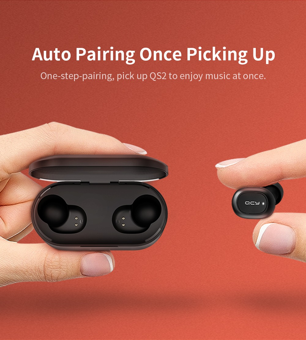 QCY QS2 TWS Bluetooth Earphones Or Earbuds Mini With Dual Microphone And Charging Box 2