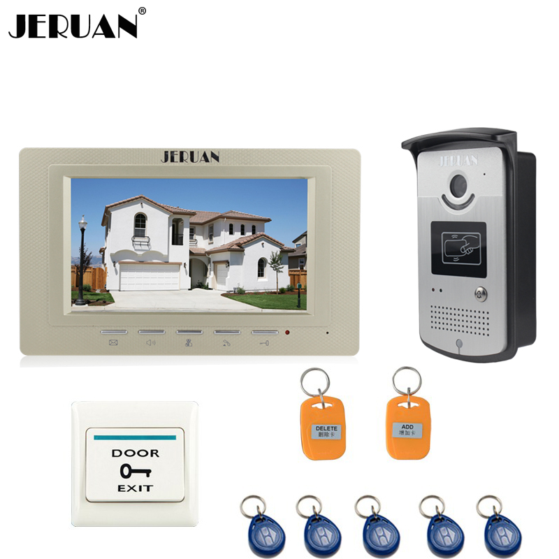 JERUAN 7 inch LCD Video Intercom Door Phone Entry System RFID Access IR Night Vision Camera +1 Golden Monitor + Exit Button 7 inch lcd color video door phone doorbell intercom entry system kit unlock night vision monitor and rainproof ir camera 3v1