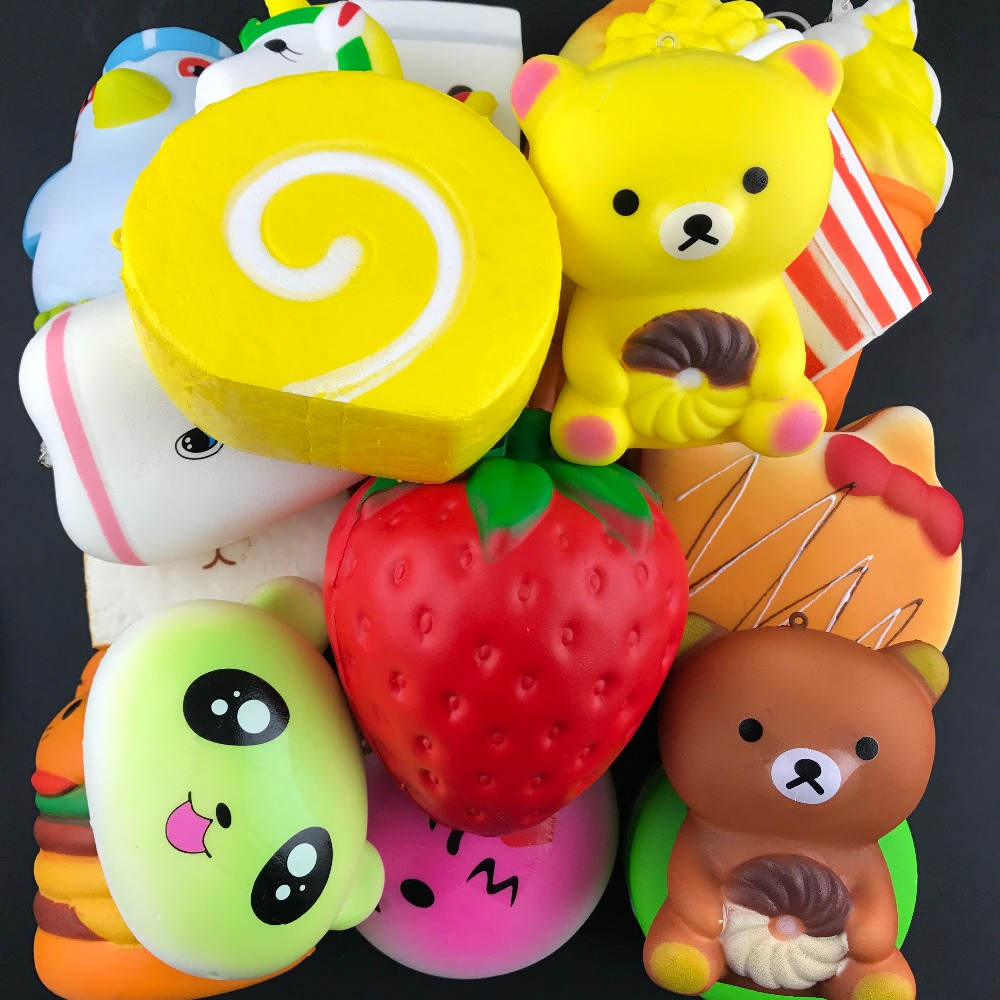 10pcs/lot big sizes Squishy Toys bear ice cream Slow Rising Relieves Stress Toy with Keychain for Children Adults squishies