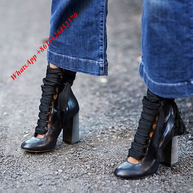 dc927db40 2017 SS Fashion Soft Black Leather Round Toe Chunky Stacked High Heels Ankle  Boots Lace Up Summer Shoes Woman Botas Mujer