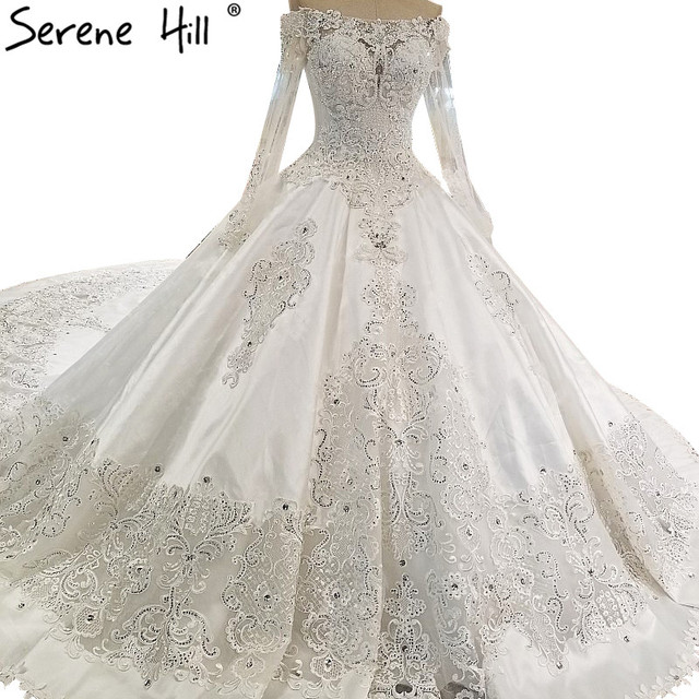 Long Sleeve Diamond Wedding Dresses