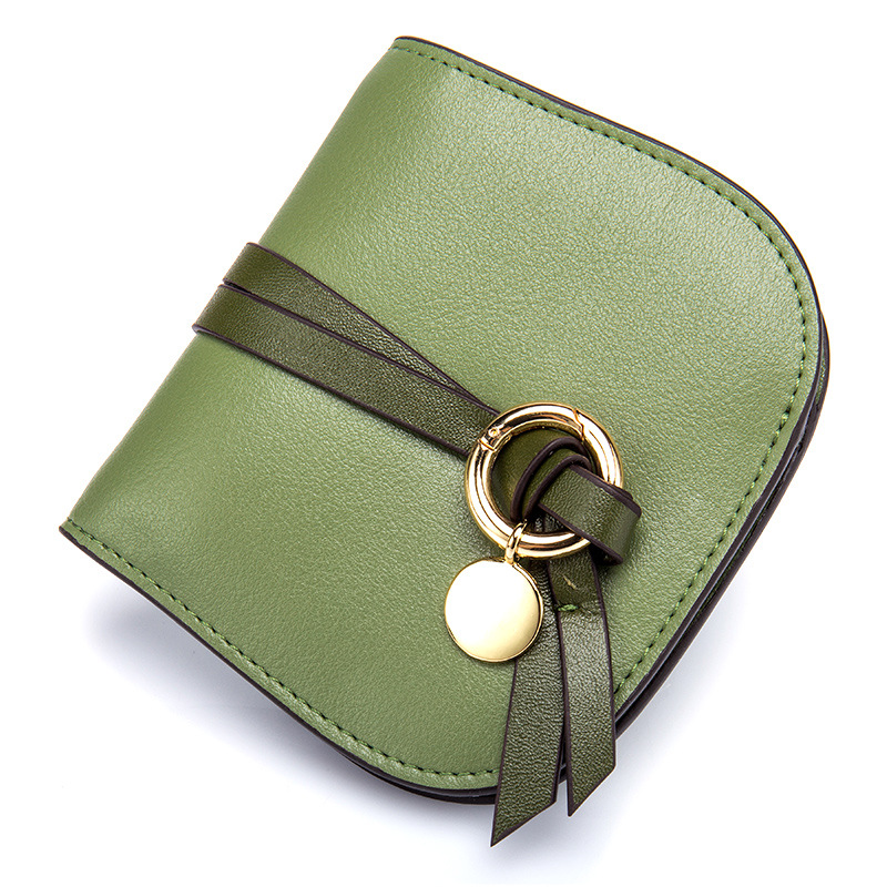2017 New Fashion Real Genuine Leather Women Short Wallet Purse Small Women's Credit Card Wallet Card Holder Green women genuine real leather short wallet zip around purse credit card holder coin change bag with mirror fashion lady id window