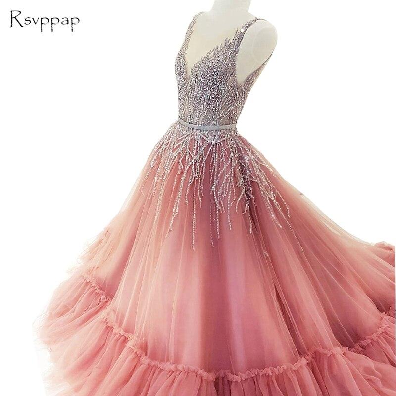 Long Sparkly Prom Dresses 2019 V-neck Sleeveless Beaded Sequined Bling Floor Length African Party Prom Dress