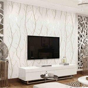 Image 4 - מודרני מינימליסטי אופנה לא ארוג טפט לחמניות 3D בולט סניף פס קיר נייר לסלון טלוויזיה ספת רקע קיר