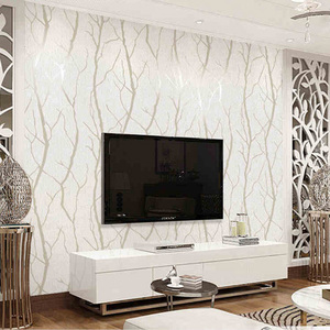 Image 4 - Modern Minimalist Fashion Non Woven Wallpaper Rolls 3D Embossed Branch Stripe Wall Paper For Living Room TV Sofa Background Wall