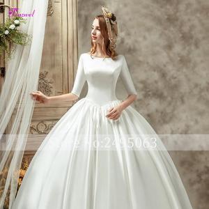 Image 5 - Fsuzwel Gorgeous Chapel Train Satin Backless A Line Wedding Dress 2020 Luxury Scoop Neck Beaded Half Sleeve Princess Bridal Gown