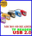 SPTR002 free shipping with track number TF Card Reader Mirco SD SDHC Card Reader  1GB 2GB 4GB 8GB 16GB 32GB 64GB