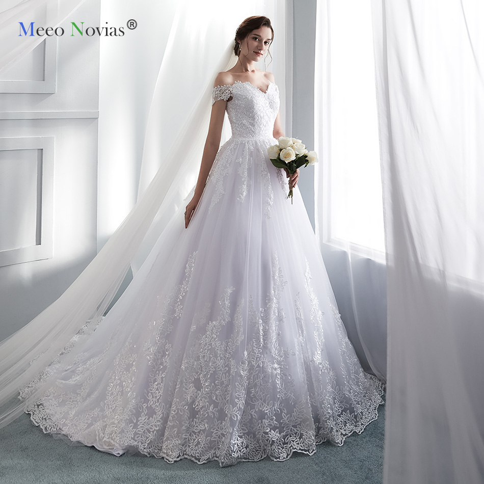 Meeo Novias Princess Wedding Dresses Cap Sleeve Applique Lace Sweetheart Ball Gown Bridal Dress Luxury Wedding