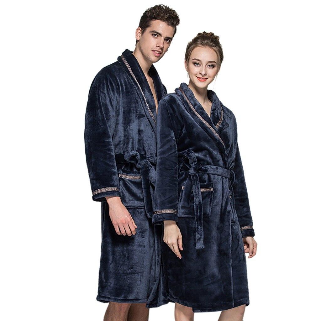 Men Women Winter Plush Shawl Bathrobe Lengthen Thicken Home Clothes Womens Pajamas Robe Coat Bathrobe Batas De Seda De Mujer