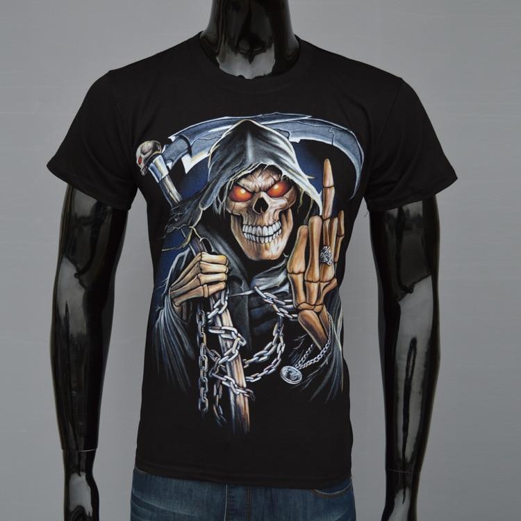Wholesale Men's Fashion Creative Printed Short Sleeve T-shirt Tops 3D T-shirt Death Skullcandy Printing 3D T-shirt DYFZ-J1038