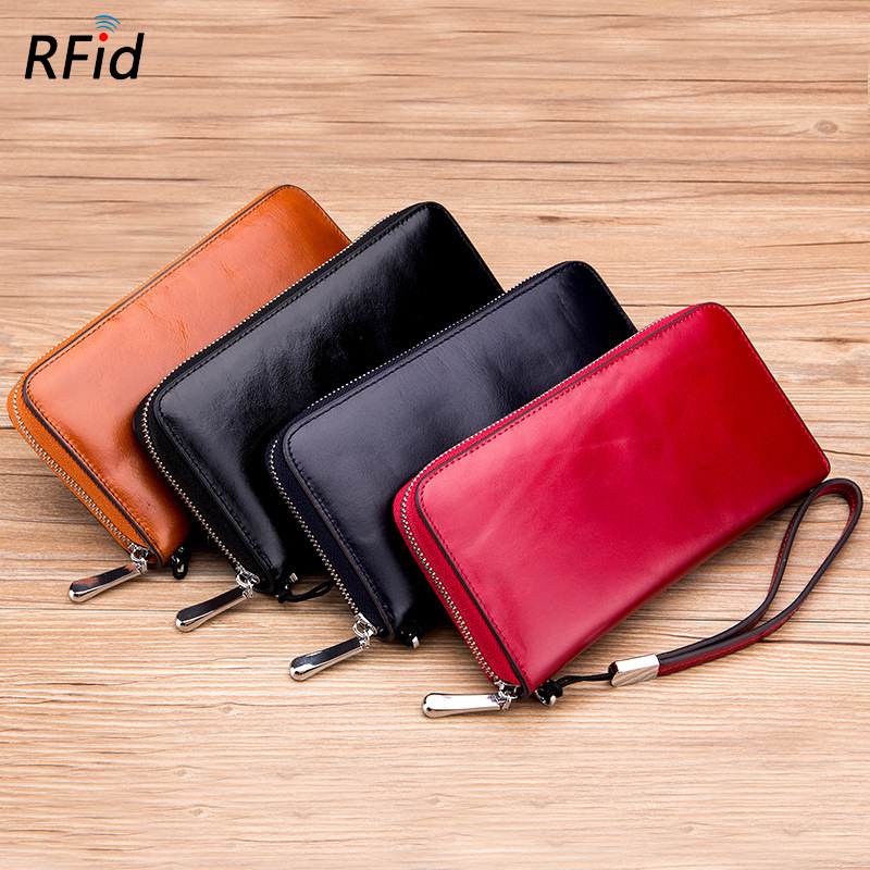 Large Capacity Women Card Holders Genuine Leather Business Credit Card Holder Long Zipper Female Card Wallets Big Id Card Holder