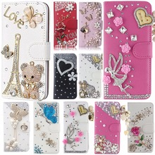 Luxury Bling Diamond Flip Leather Phone Case For BlackBerry Q20/BlackBerry Classic Q20,Wallet Style Cover With Card Slot