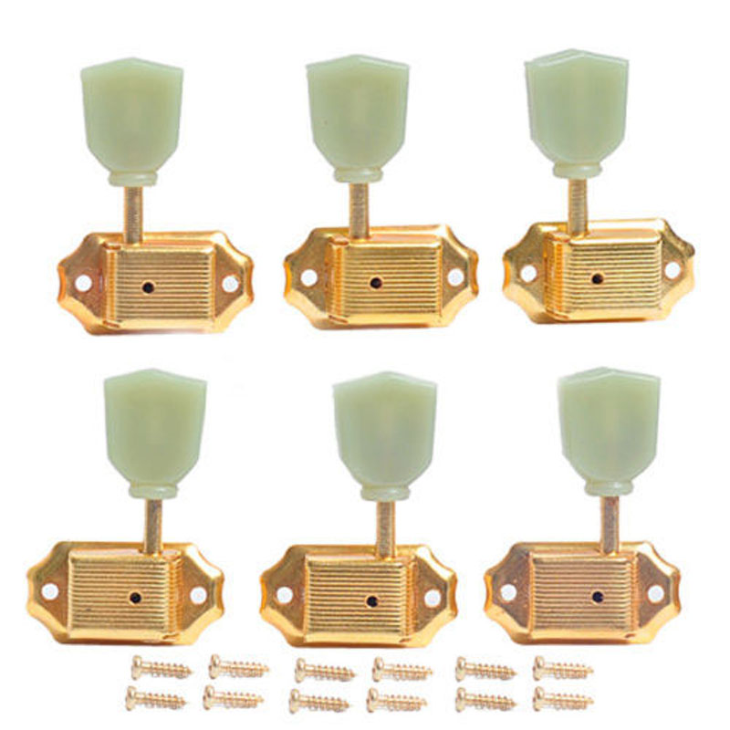 1set gold deluxe guitar tuning pegs guitar parts accessories tuners green button for guitar. Black Bedroom Furniture Sets. Home Design Ideas
