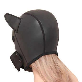 Щенок играть БДСМ Связывание комплект, кожаное покрытие на голову маска с повязкой на глаза, силиконовые Анальная пробка, Мягкие Рукавицы митенки, ползают лапы
