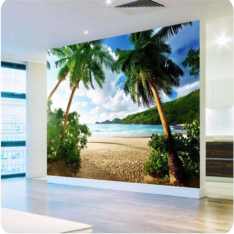 Beibehang Photo wallpaper high quality 3 d TV sofa background wallpaper palm beach sea island bedroom wall mural wallpaper beibehang colorful circle tv background 3d flooring wall paper mural rolls photo wallpaper for wall 3 d hotel livingroom bedroom