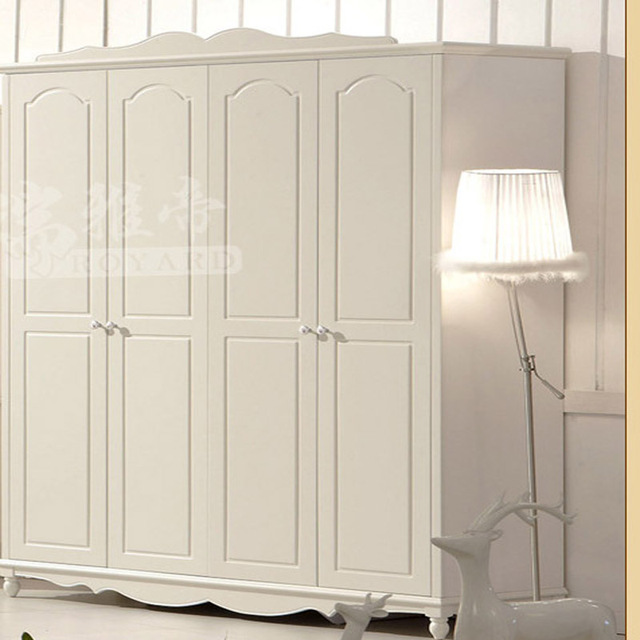 US $450.0 |Modern corner wardrobe armoire dresser solid wood bedroom  furniture Ivory white four door wardrobe #hkA02-in Wardrobes from Furniture  on ...