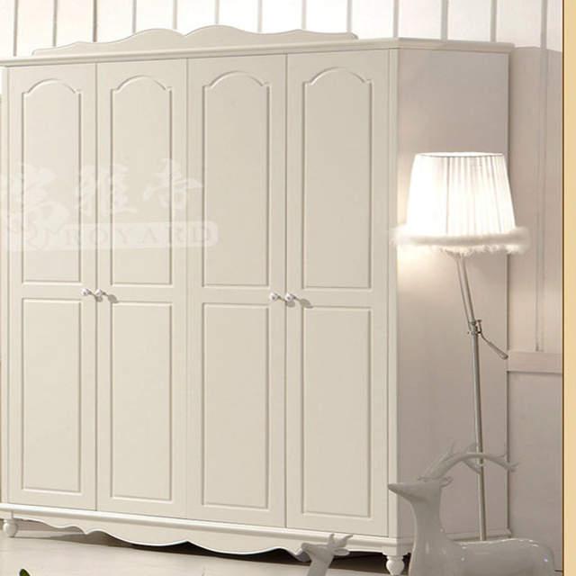 Moderno armadio ad angolo armadio comò in legno massello camera da letto  mobili bianco Avorio a quattro porte armadio # hkA02