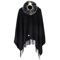 Cashmere Scarf Fox Fur Trim Autumn Winter Spring Natural Fox Fur 100 Pure Cashmere Black