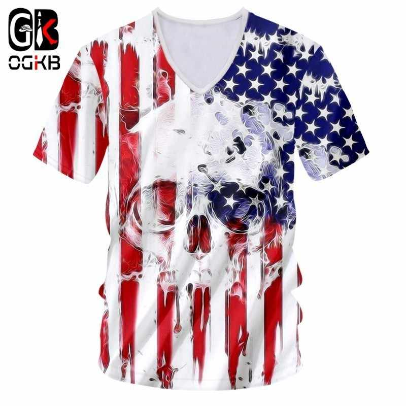 OGKB Nieuwe Mode Kleding Mannen Grappig Cool 3D Print Amerikaanse Vlag Schedel T-shirts Harajuku Tops Tees Plus Size Casual Tshirt unisex