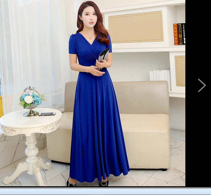 US $21.59 49% OFF|Big Big V neck Women Summer Dress 2019 Royal Blue Retro  Dress Women Maxi Dresses Plus Size Womens Clothing Robe Femme WS2-in  Dresses ...