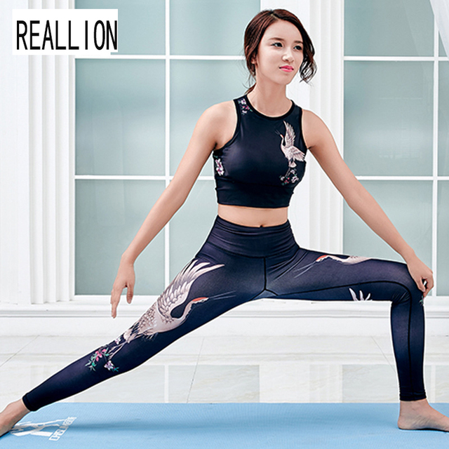 21459d9c2c Women Workout Clothes Chinese Style Crane Printing Yoga Suit Gym Fitness  Skinny Sport Suit Women Sports Wear Yoga Sets