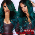 Ombre Green Color Wig Long Body Wave Lace Front Wigs Soft Hair Heat Resistant Fiber Wigs For Women Synthetic Lace Wig