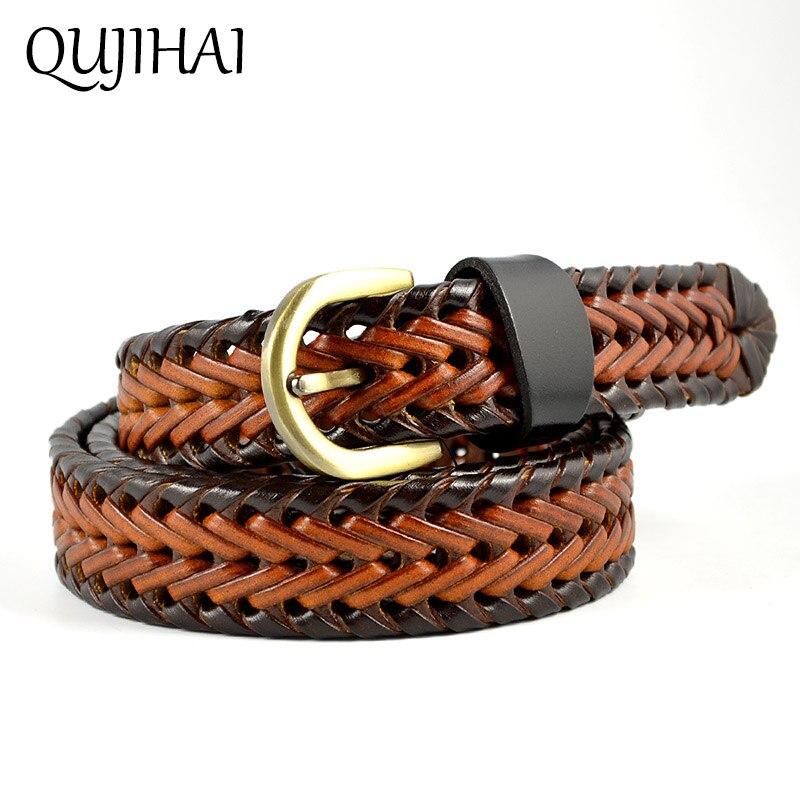 QUJIHAI New Style Hemp Rope Braid Womens Belt Female For Dress High Quality Handmade Woven Belts Women Denim Skirts Casual Belts