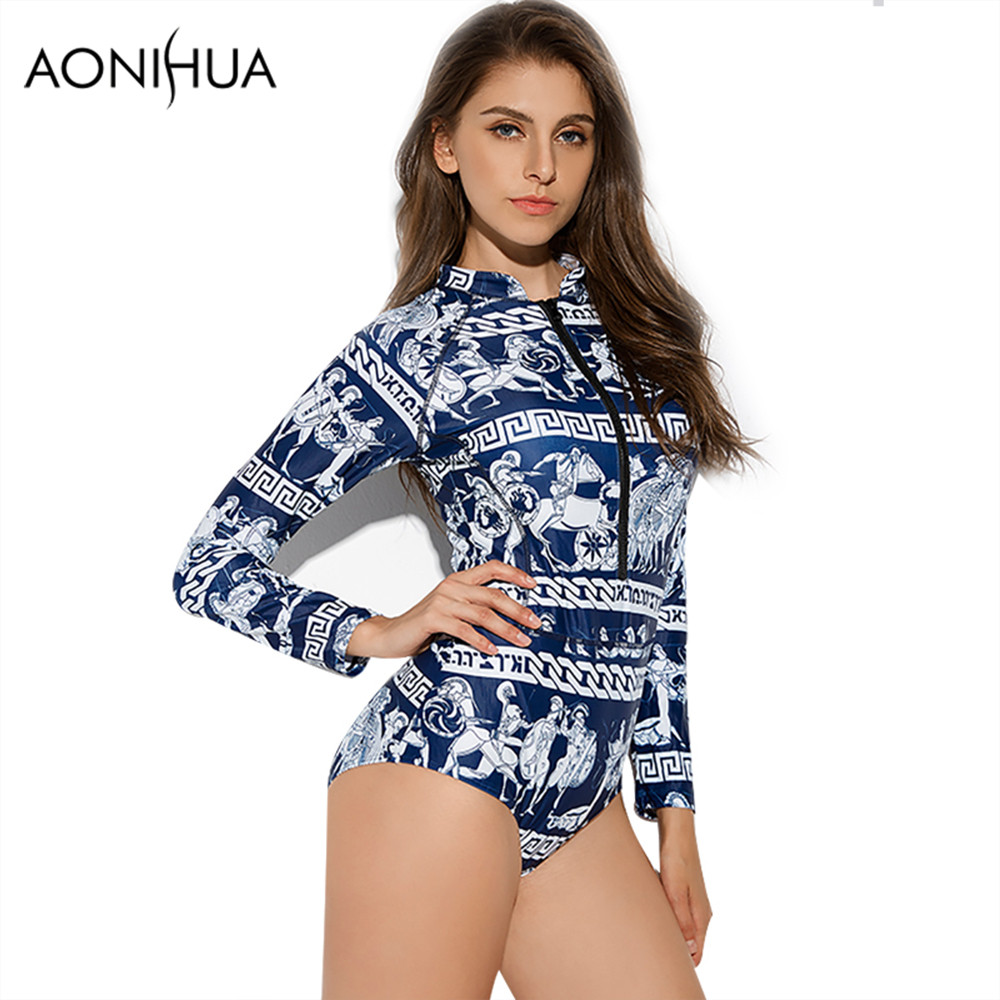 AONIHUA 2018 Retro Ancient mural printing Swimsuit for Women Vintage One Piece Swimwear Long sleeve zipper swimming Suit 9021 in Body Suits from Sports Entertainment