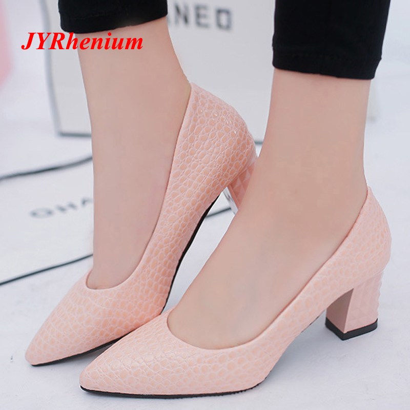 JYRhenium 2018 בתוספת גודל OL משרד ליידי נעלי עקבים עבים אישה נעלי הבוהן מחודדת שמלת נעלי בסיסי משאבות Chaussure פאטאל ורוד