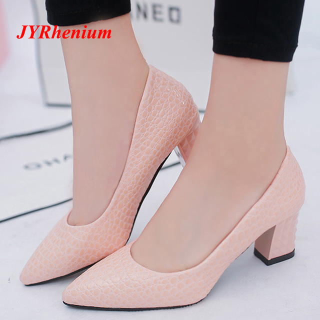 JYRhenium 2018 Plus tamaño OL Oficina dama zapatos de tacón grueso zapatos  de mujer zapatos del 68833339c97f