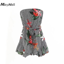 Mayhall 2018 Spring&Summer Fashion Playsuits Sexy Printing Floral Print  Strapless Striped Chiffon Jumpsuit MH077