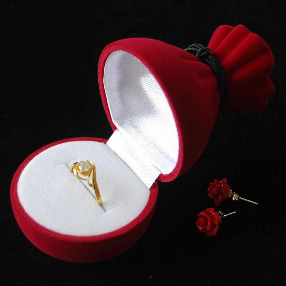 1 Pcs Pomegranate Flower Pattern Ring Storage Box Creative Jewelry Case Fashion High Quality Velvet Jewelry Carrying Cases