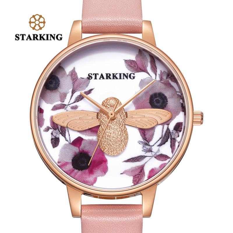 STARKING Women Watch New Arrival Fashion Casual Little Bee Watch Faceless 3D Dial Stainless Steel Quartz WristWatch Female Clock