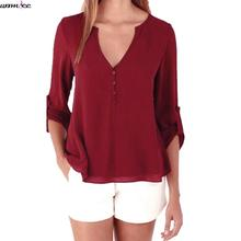 Womdee 2017 new Spring Summer blouses female Tops Long Sleeve Casual Loose Shirts women blouse short