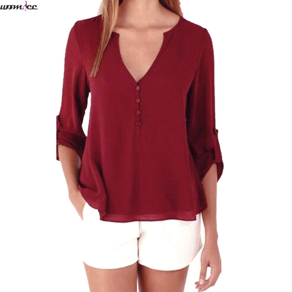 Womdee 2017 new Spring Summer font b blouses b font female Tops Long Sleeve Casual Loose