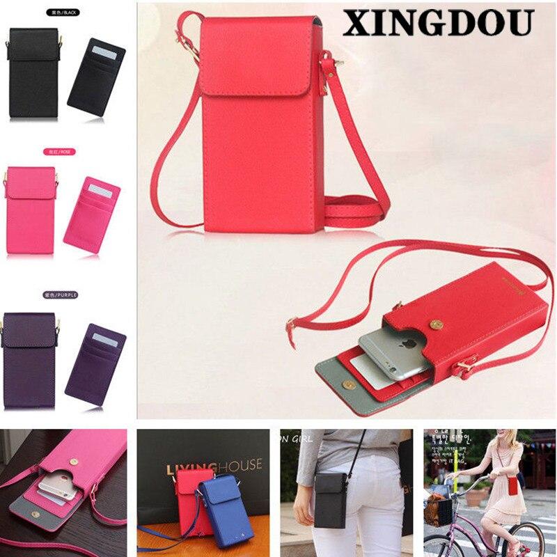 bilder für XINGDUO Universal Leder Handtasche Umhängetasche Gurt Neck Mappenbeutelhandtasche case abdeckung für iphone 4 4 s 5 5 s 6 6 s 7 7 plus