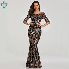 Ameision New 2019 Sequins Party Formal Dress Half Sleeve Beads Sexy Long Evening Dresses