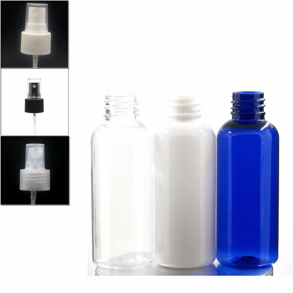 50ml Empty Blue/white/clear Plastic Pet Bottle With White/black/transparent Fine Mist ,sprayer Spray Bottle X5