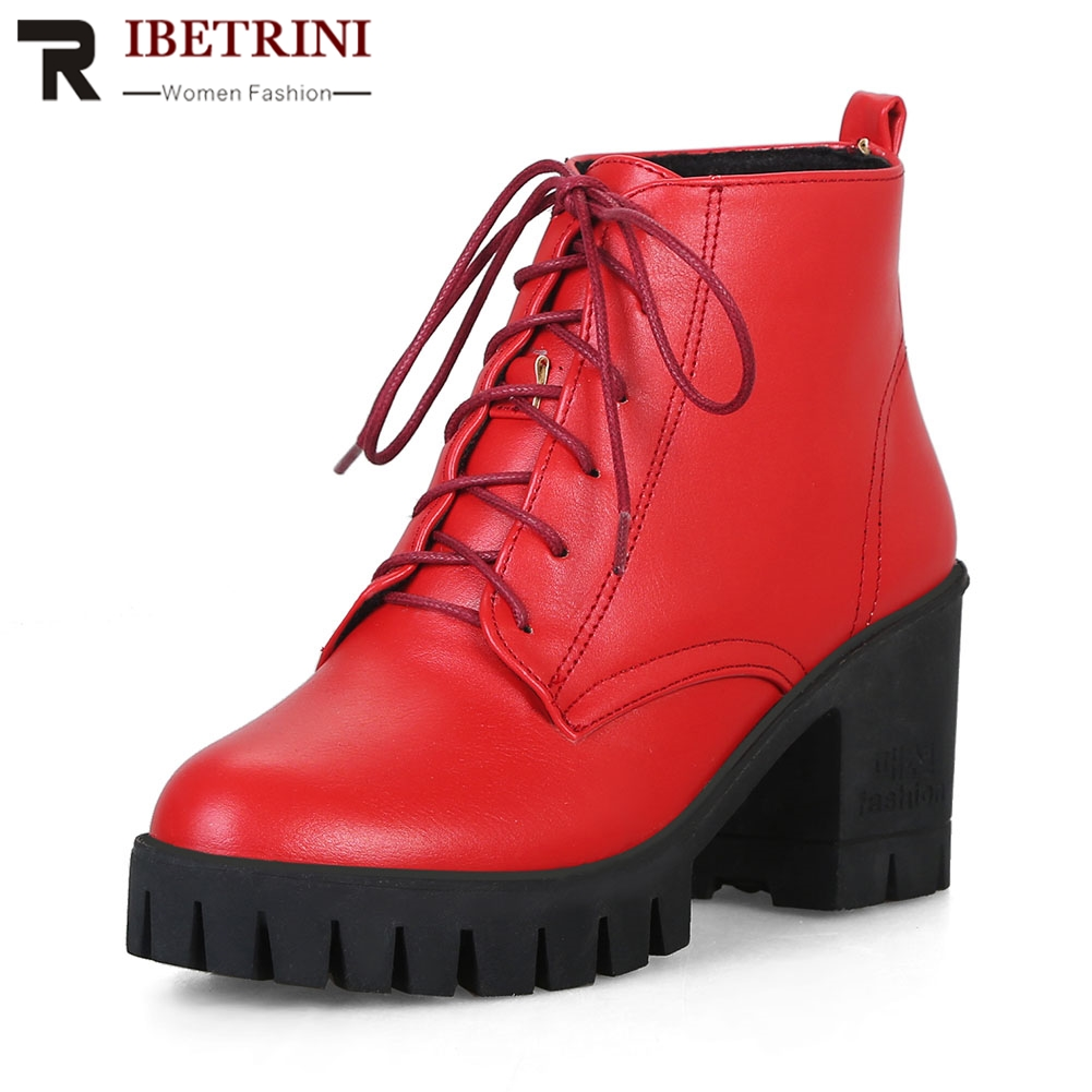 RIBETRINI New Arrival 4 Colors Shoes Red Women Lace Up High Square Heels Platform Ankle Boots For Women stunning high slit lace up red maxi skirt for women