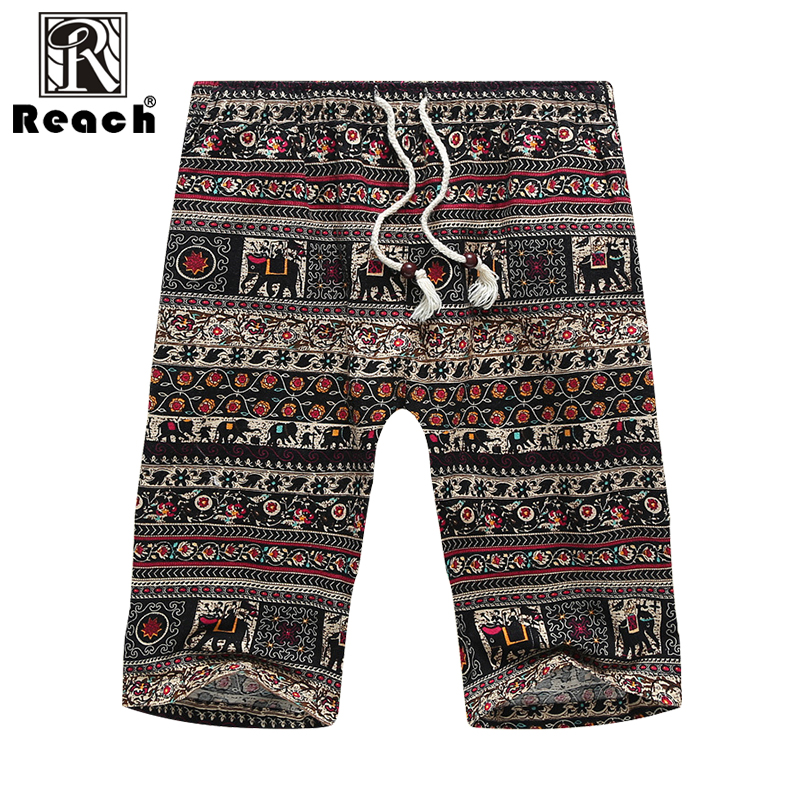 reach Men Shorts Cotton Beach Linen Short Pants Men Plus Size Summer Big Size Printed Elastic Waist Thin Breathable New