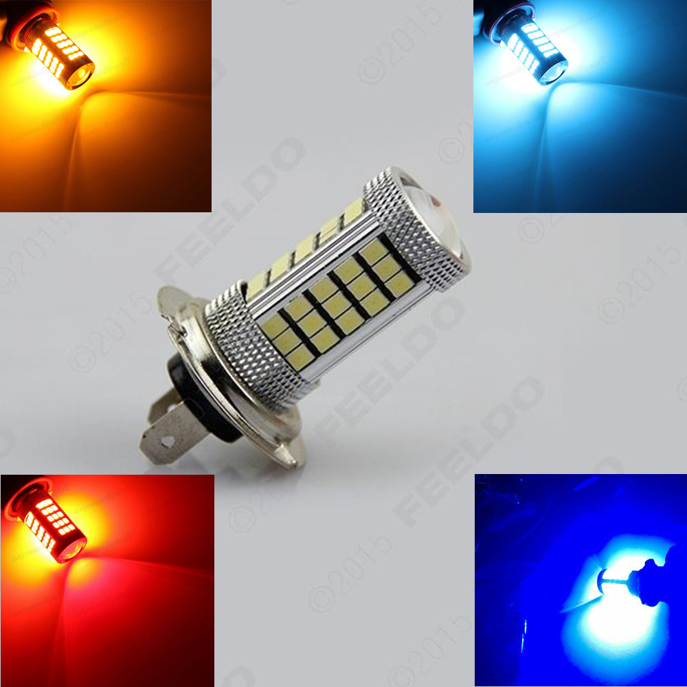 CYAN SOIL BAY White Amber Blue H7 2835 63 66 SMD LED PX26D Car Projector Fog Driving Bulb Light Lamp Source Bright Than 33 SMD  car vehicle 9006 hb4 2835 63 66 smd 1200lm white bulb fog light for drl 6000k 12v 24v bright than 33 smd