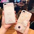 Nuevo patrón de flores transparente fundas para iphone 6 6 s 6 plus 6 s plus para iphone 7 7 plus anti-caída cubierta del teléfono la mujer bolsas
