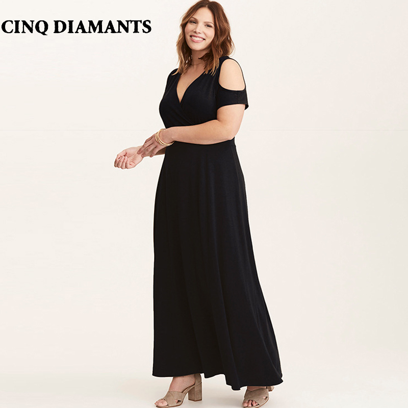 CINQ DIAMANTS Black Maxi Long Dress Cold Shoulder Plus Size Swing Dress  Short Sleeve V Neck Dress Longue Robe Vestido Longo jurk 18fc9c8d991c