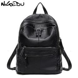 NIGEDU doux en cuir PU femmes sac à dos grande capacité dames sac à dos noir décontracté école livre sac voyage sac Daypack mochila