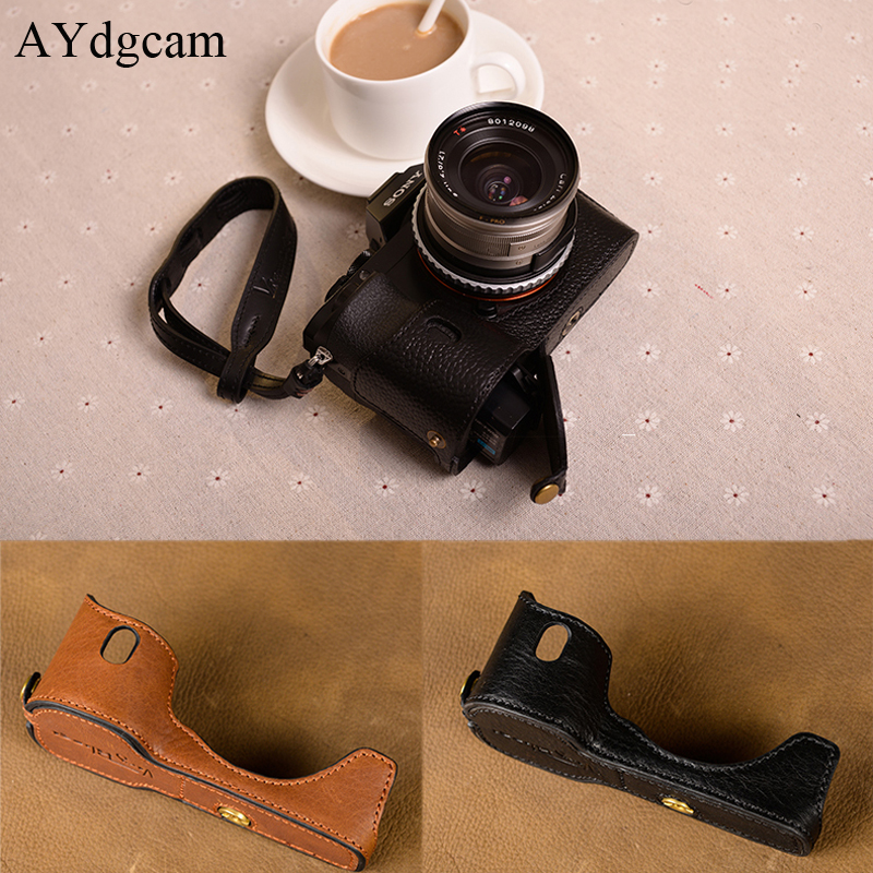 [VR] Brand Handmade Genuine Leather Camera case For Sony A7 A7 Mark 1 A7R A7S Camera Bag Half Cover Handle Vintage Case [vr] brand handmade genuine leather camera case for sony a7ii a7 mark 2 a7r2 a7r ii camera bag half cover handle vintage case