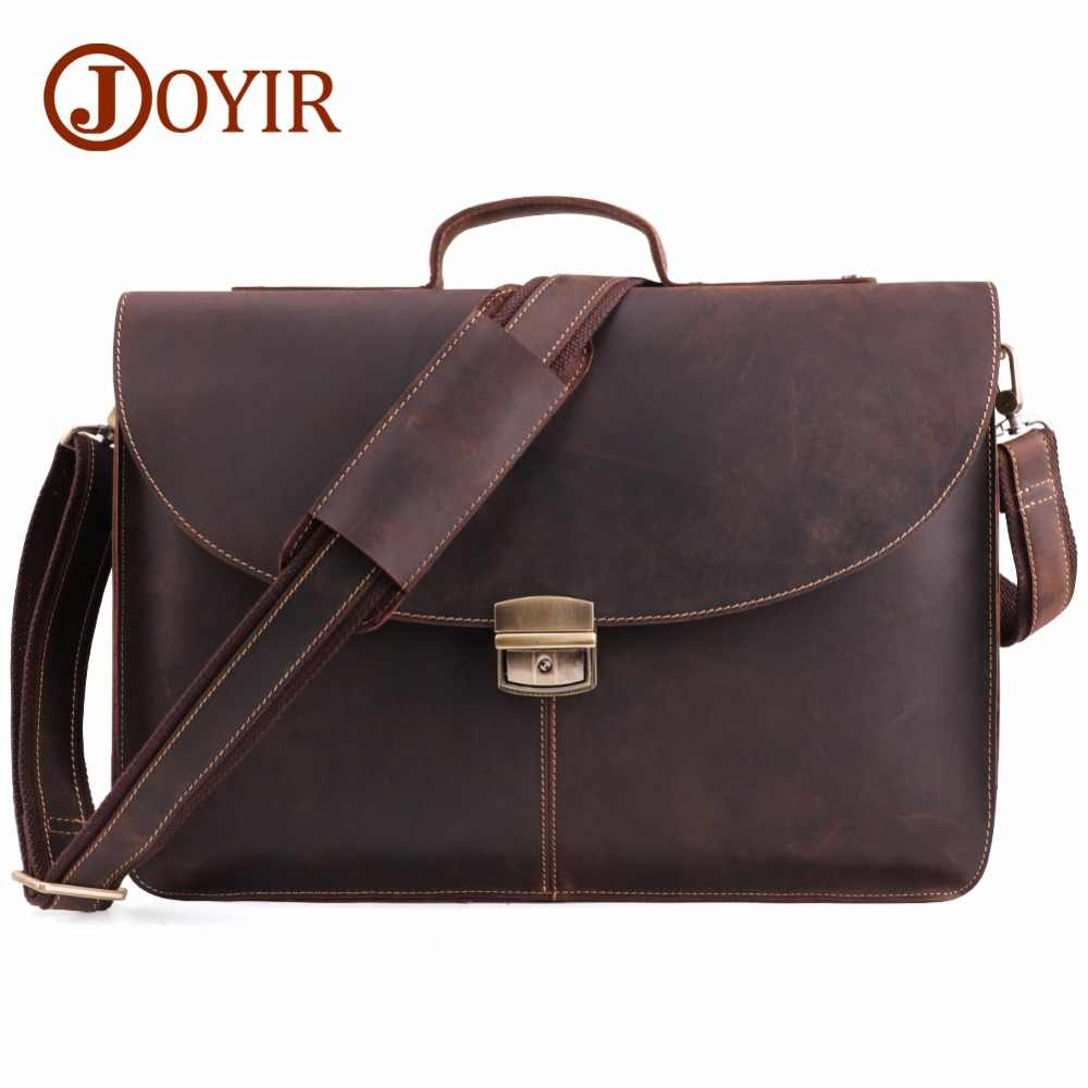JOYIR Crazy Horse Genuine Leather Men Briefcase Messenger Laptop Bag Business Bags Shoulder Bag Crossbody Messenger Handbag 6359