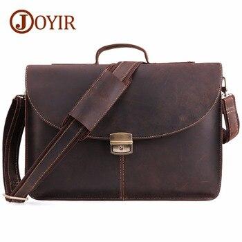 1d9fb9843fea4 JOYIR Çılgın At Hakiki Deri Erkek Evrak Çantası Messenger laptop çantası iş  çantaları omuzdan askili çanta Crossbody postacı çantası 6359